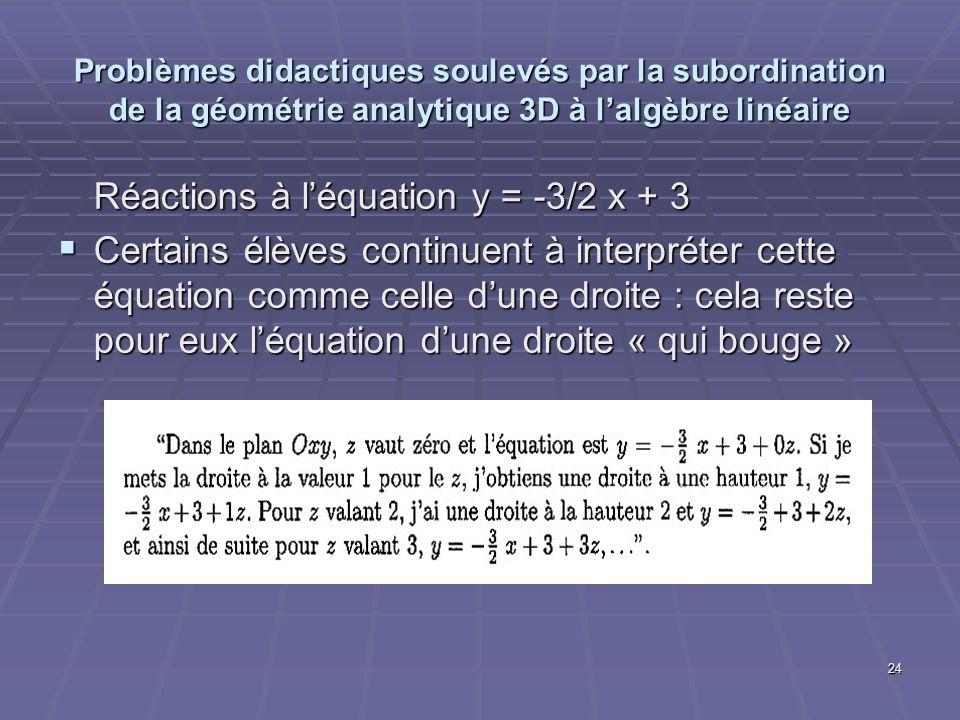 24 Problèmes didactiques soulevés par la subordination de la géométrie analytique 3D à lalgèbre linéaire Réactions à léquation y = -3/2 x + 3 Certains