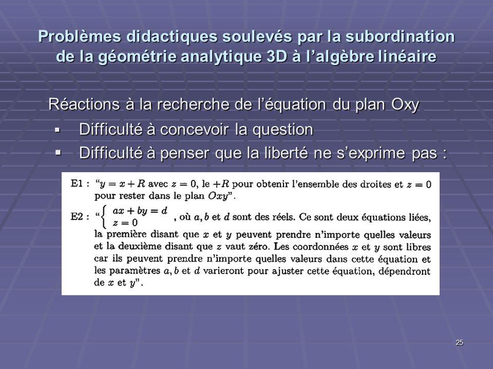25 Problèmes didactiques soulevés par la subordination de la géométrie analytique 3D à lalgèbre linéaire Réactions à la recherche de léquation du plan