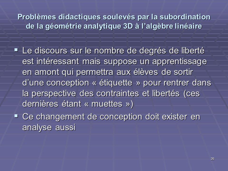 26 Problèmes didactiques soulevés par la subordination de la géométrie analytique 3D à lalgèbre linéaire Le discours sur le nombre de degrés de libert