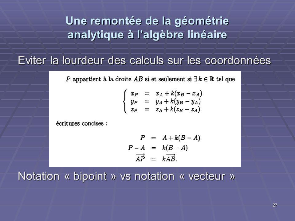 27 Une remontée de la géométrie analytique à lalgèbre linéaire Eviter la lourdeur des calculs sur les coordonnées Notation « bipoint » vs notation « v