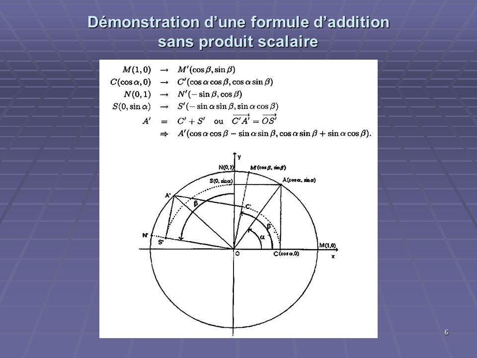 6 Démonstration dune formule daddition sans produit scalaire