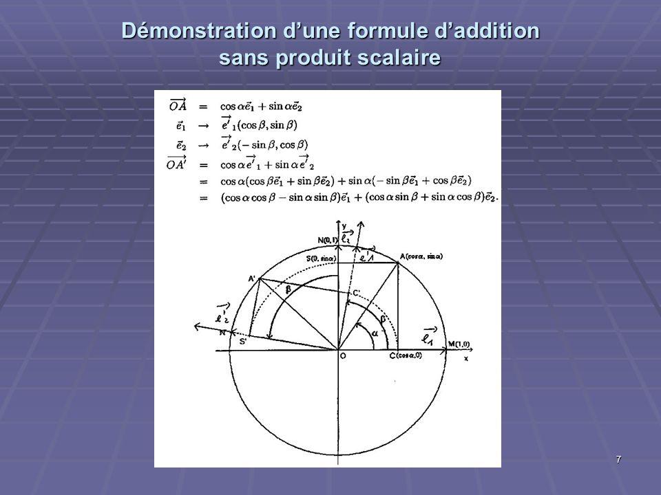 28 Une remontée de la géométrie analytique à lalgèbre linéaire « Vecteur : Elément dun espace vectoriel […] (Exemples: polynôme, matrice carrée, fonction de classe C1 sur R, progression arithmétique, éléments de R 2 ou de R 3 appelés vecteurs géométriques).
