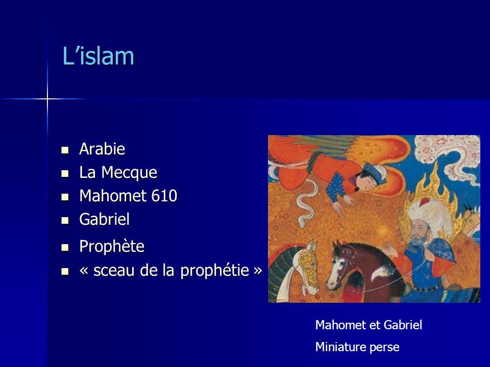 Lislam Arabie Arabie La Mecque La Mecque Mahomet 610 Mahomet 610 Gabriel Gabriel Prophète Prophète « sceau de la prophétie » « sceau de la prophétie » Mahomet et Gabriel Miniature perse
