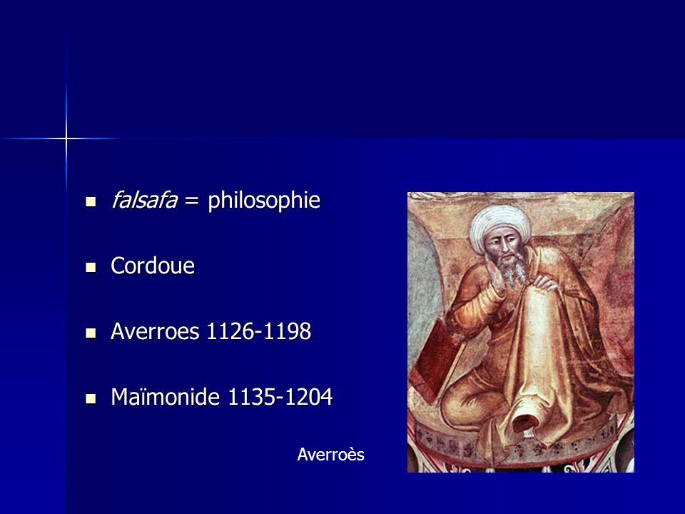 falsafa = philosophie falsafa = philosophie Cordoue Cordoue Averroes 1126-1198 Averroes 1126-1198 Maïmonide 1135-1204 Maïmonide 1135-1204 Averroès