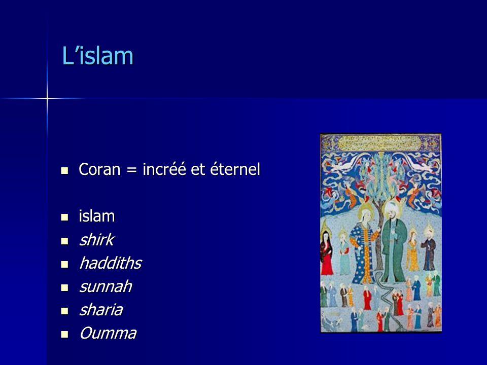 Lislam Coran = incréé et éternel Coran = incréé et éternel islam islam shirk shirk haddiths haddiths sunnah sunnah sharia sharia Oumma Oumma