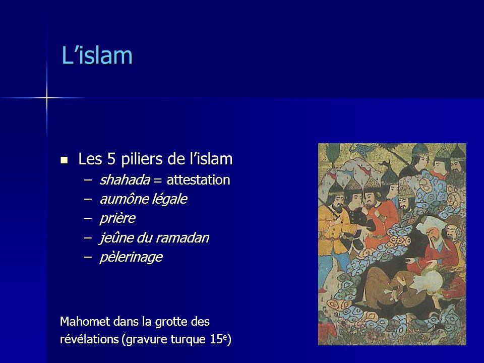 Lislam Les 5 piliers de lislam Les 5 piliers de lislam –shahada = attestation –aumône légale –prière –jeûne du ramadan –pèlerinage Mahomet dans la gro