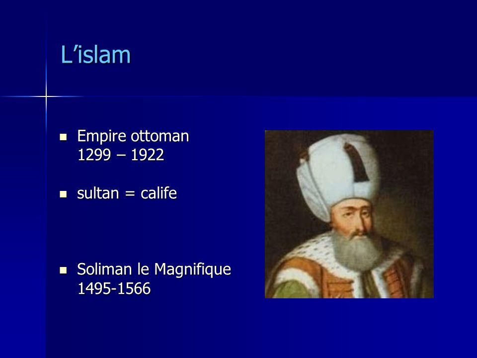 Lislam Empire ottoman Empire ottoman 1299 – 1922 sultan = calife sultan = calife Soliman le Magnifique Soliman le Magnifique1495-1566