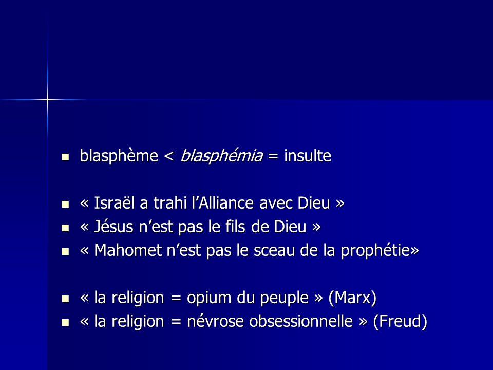 blasphème < blasphémia = insulte blasphème < blasphémia = insulte « Israël a trahi lAlliance avec Dieu » « Israël a trahi lAlliance avec Dieu » « Jésus nest pas le fils de Dieu » « Jésus nest pas le fils de Dieu » « Mahomet nest pas le sceau de la prophétie» « Mahomet nest pas le sceau de la prophétie» « la religion = opium du peuple » (Marx) « la religion = opium du peuple » (Marx) « la religion = névrose obsessionnelle » (Freud) « la religion = névrose obsessionnelle » (Freud)