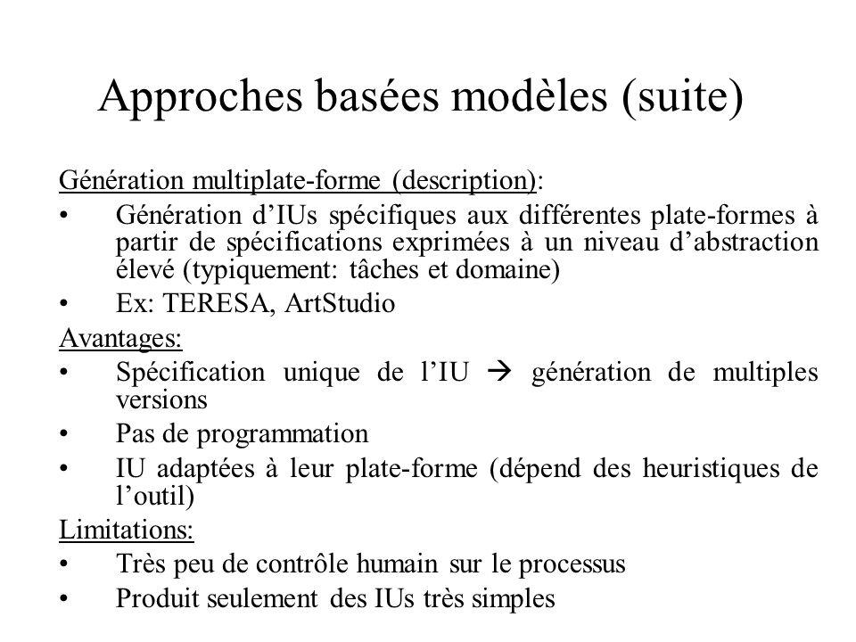 Approches basées modèles (suite) Génération multiplate-forme (description): Génération dIUs spécifiques aux différentes plate-formes à partir de spéci