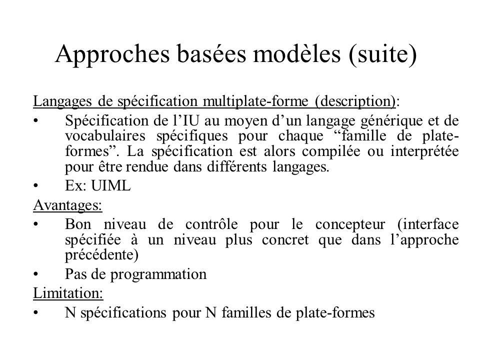 Approches basées modèles (suite) Langages de spécification multiplate-forme (description): Spécification de lIU au moyen dun langage générique et de vocabulaires spécifiques pour chaque famille de plate- formes.
