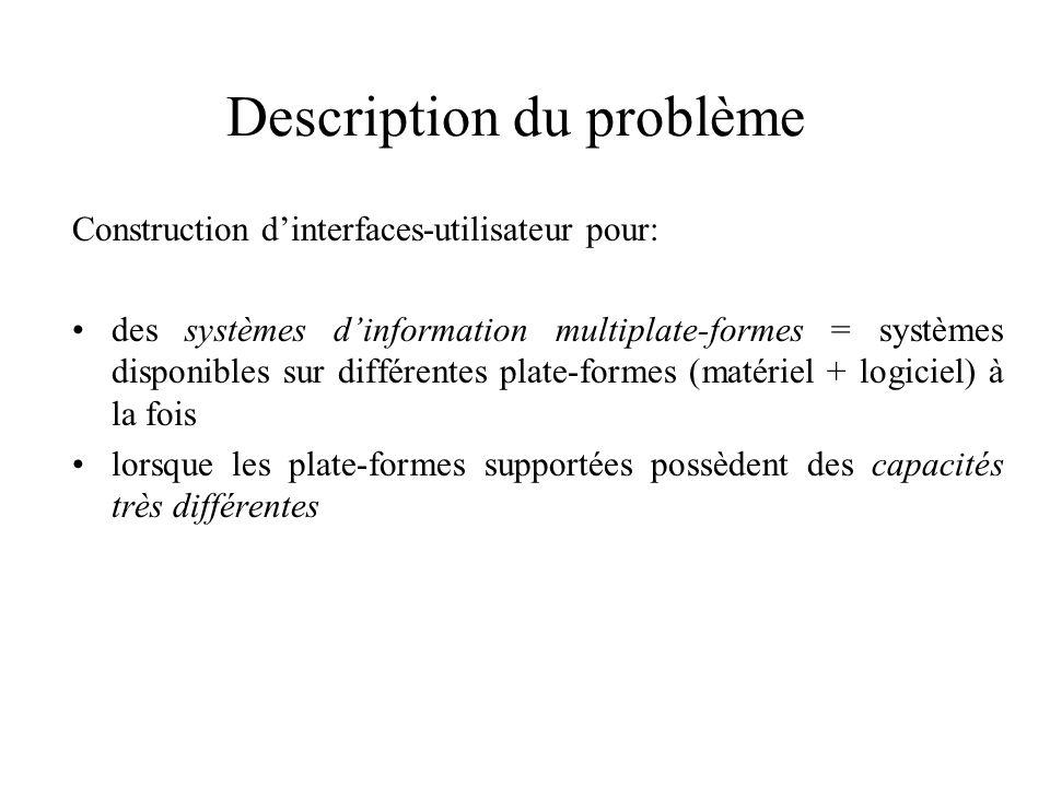 Description du problème Construction dinterfaces-utilisateur pour: des systèmes dinformation multiplate-formes = systèmes disponibles sur différentes