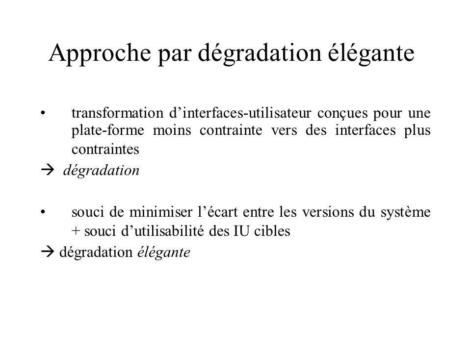 Approche par dégradation élégante transformation dinterfaces-utilisateur conçues pour une plate-forme moins contrainte vers des interfaces plus contra