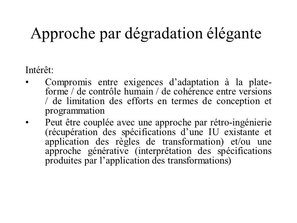 Approche par dégradation élégante Intérêt: Compromis entre exigences dadaptation à la plate- forme / de contrôle humain / de cohérence entre versions