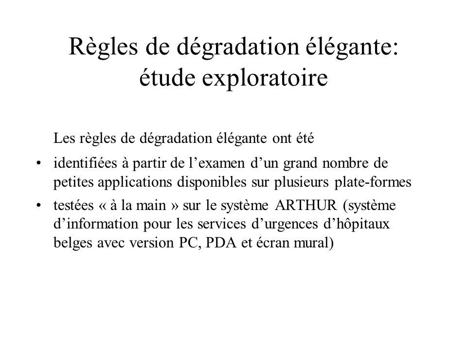 Règles de dégradation élégante: étude exploratoire Les règles de dégradation élégante ont été identifiées à partir de lexamen dun grand nombre de peti
