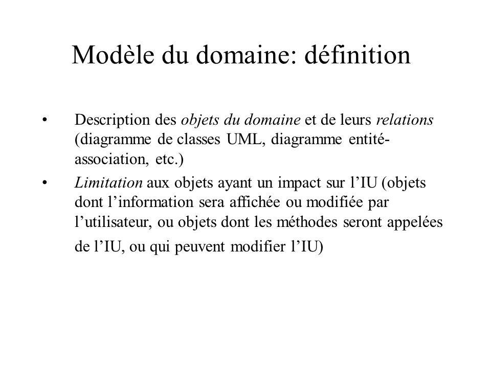 Modèle du domaine: définition Description des objets du domaine et de leurs relations (diagramme de classes UML, diagramme entité- association, etc.)