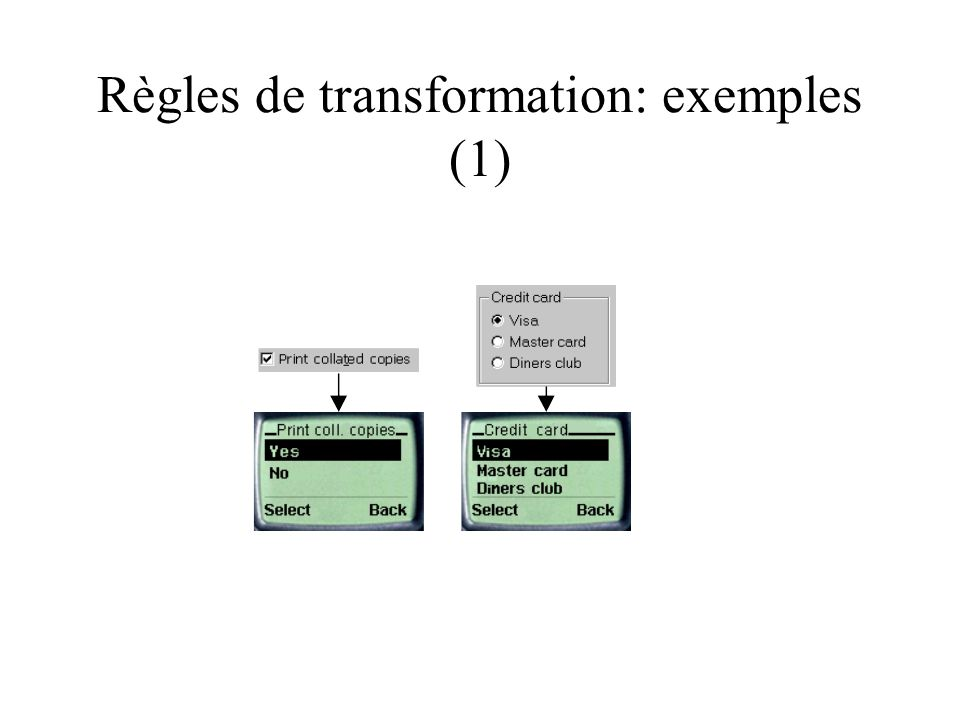 Règles de transformation: exemples (1)