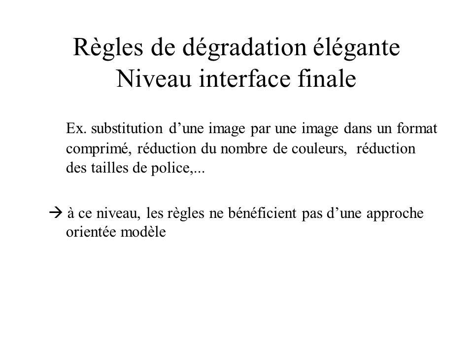 Règles de dégradation élégante Niveau interface finale Ex. substitution dune image par une image dans un format comprimé, réduction du nombre de coule