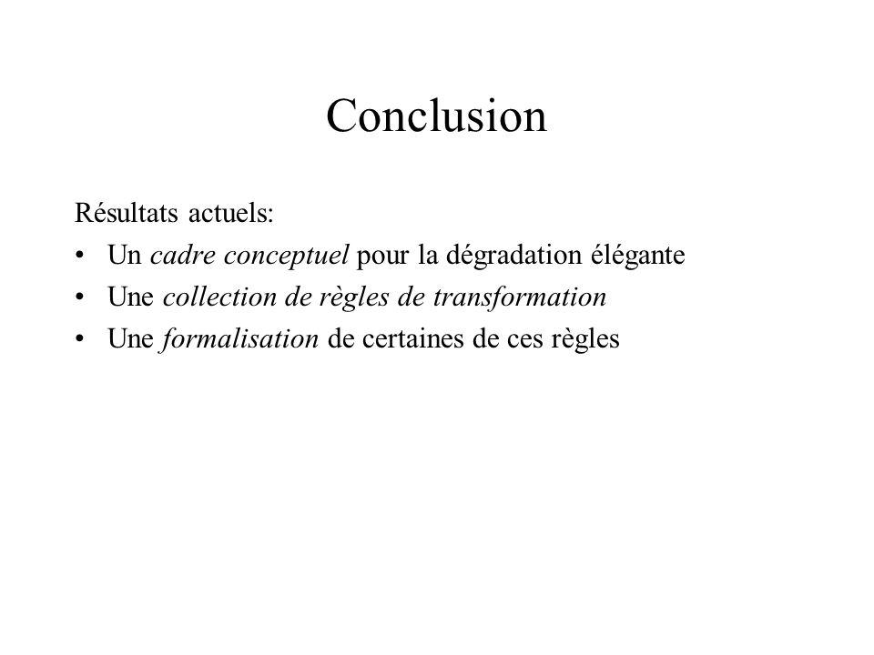 Conclusion Résultats actuels: Un cadre conceptuel pour la dégradation élégante Une collection de règles de transformation Une formalisation de certaines de ces règles