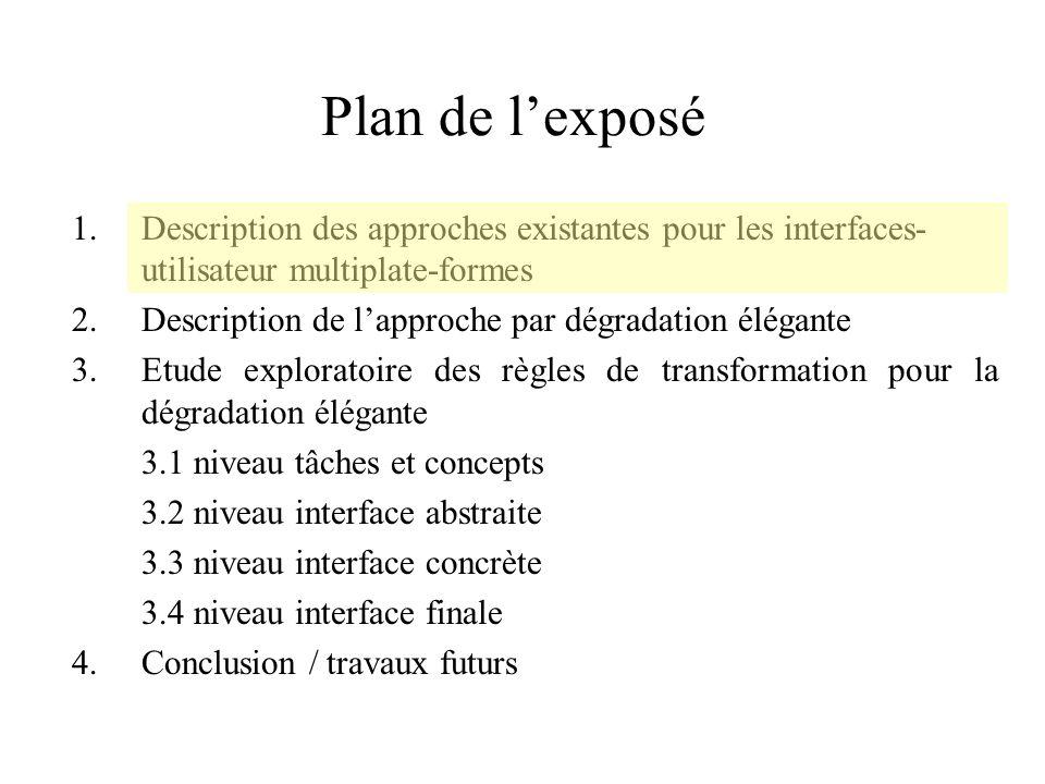 Plan de lexposé 1.Description des approches existantes pour les interfaces- utilisateur multiplate-formes 2.Description de lapproche par dégradation é
