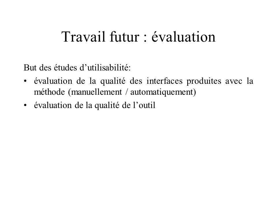 Travail futur : évaluation But des études dutilisabilité: évaluation de la qualité des interfaces produites avec la méthode (manuellement / automatiquement) évaluation de la qualité de loutil