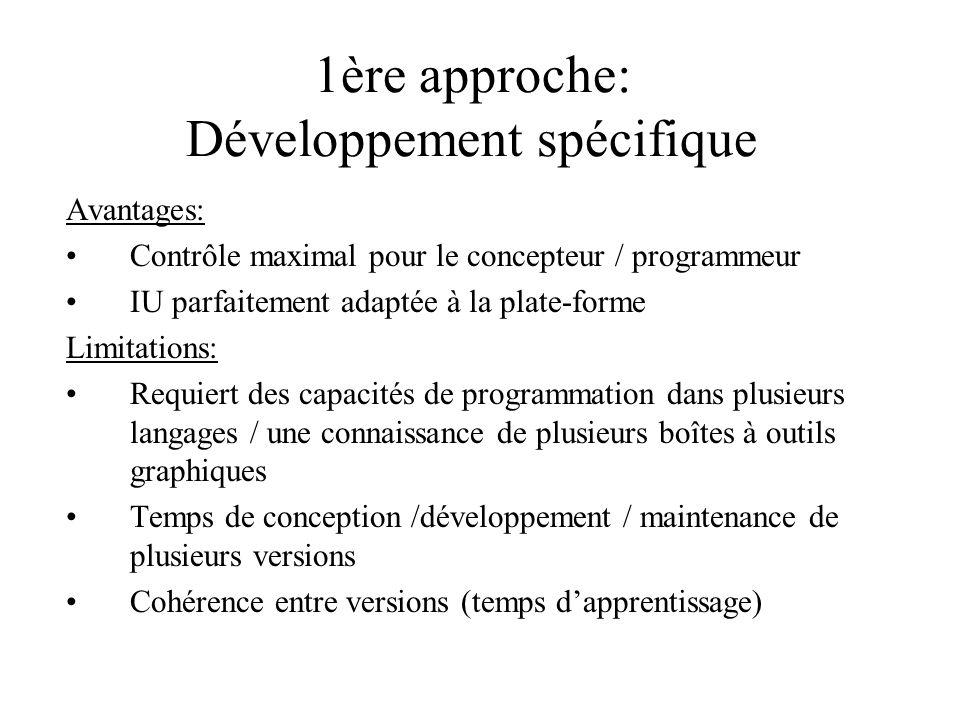 1ère approche: Développement spécifique Avantages: Contrôle maximal pour le concepteur / programmeur IU parfaitement adaptée à la plate-forme Limitati