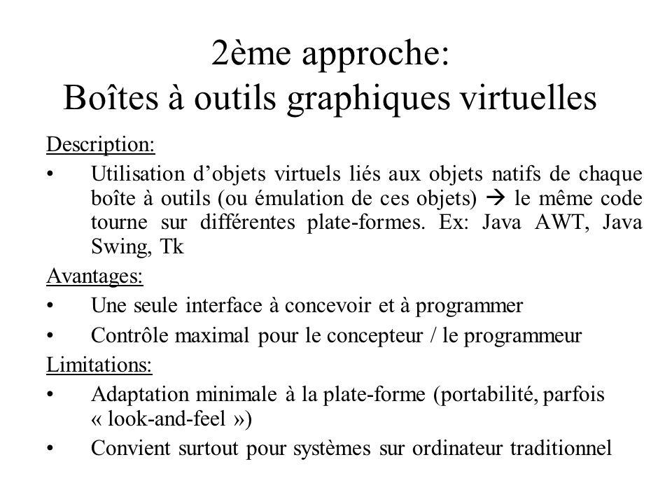 2ème approche: Boîtes à outils graphiques virtuelles Description: Utilisation dobjets virtuels liés aux objets natifs de chaque boîte à outils (ou émulation de ces objets) le même code tourne sur différentes plate-formes.
