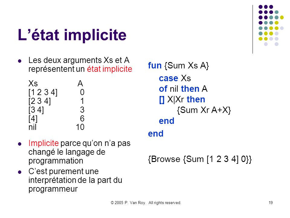 © 2005 P. Van Roy. All rights reserved.19 Létat implicite Les deux arguments Xs et A représentent un état implicite Xs A [1 2 3 4] 0 [2 3 4] 1 [3 4] 3