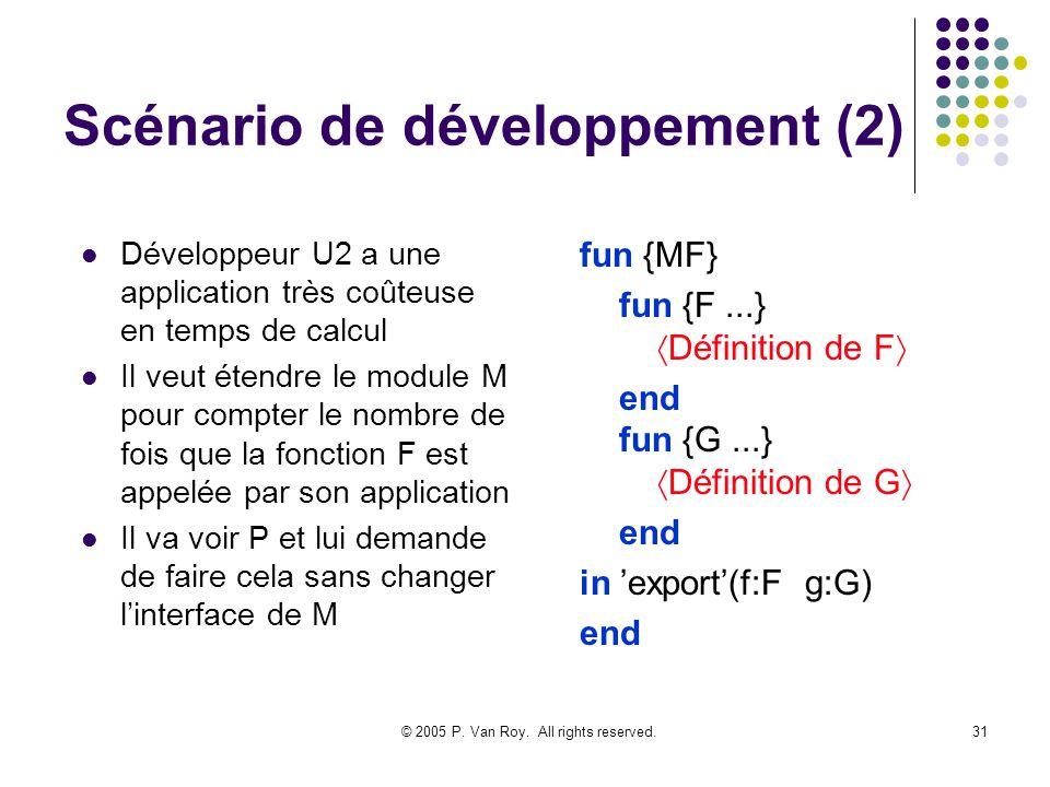© 2005 P. Van Roy. All rights reserved.31 Scénario de développement (2) Développeur U2 a une application très coûteuse en temps de calcul Il veut éten