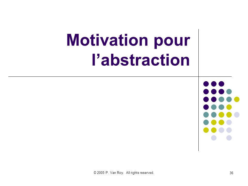 © 2005 P. Van Roy. All rights reserved. 36 Motivation pour labstraction