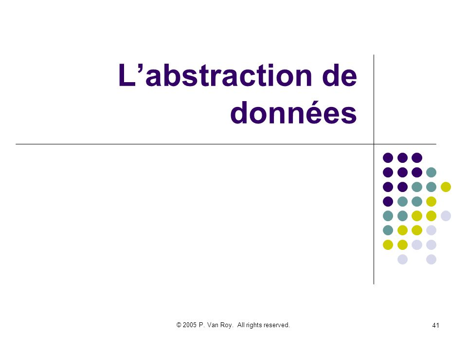 © 2005 P. Van Roy. All rights reserved. 41 Labstraction de données