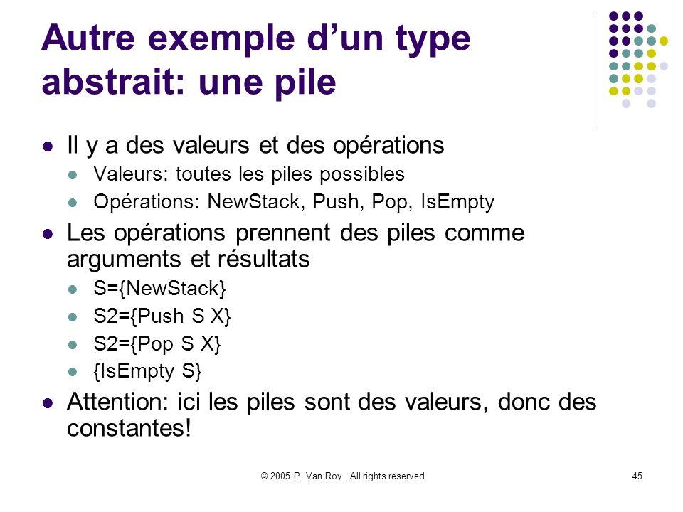 © 2005 P. Van Roy. All rights reserved.45 Autre exemple dun type abstrait: une pile Il y a des valeurs et des opérations Valeurs: toutes les piles pos