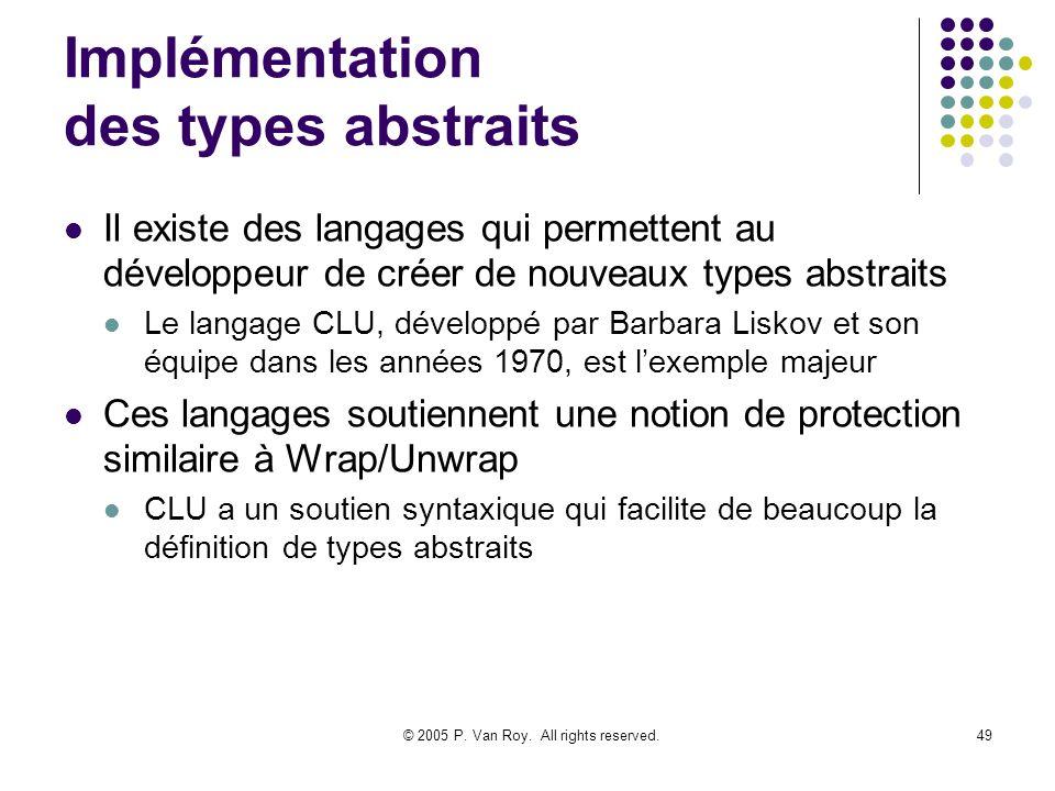 © 2005 P. Van Roy. All rights reserved.49 Implémentation des types abstraits Il existe des langages qui permettent au développeur de créer de nouveaux