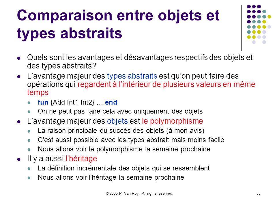 © 2005 P. Van Roy. All rights reserved.53 Comparaison entre objets et types abstraits Quels sont les avantages et désavantages respectifs des objets e