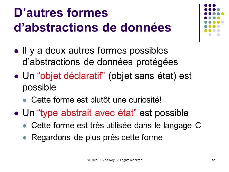© 2005 P. Van Roy. All rights reserved.55 Dautres formes dabstractions de données Il y a deux autres formes possibles dabstractions de données protégé
