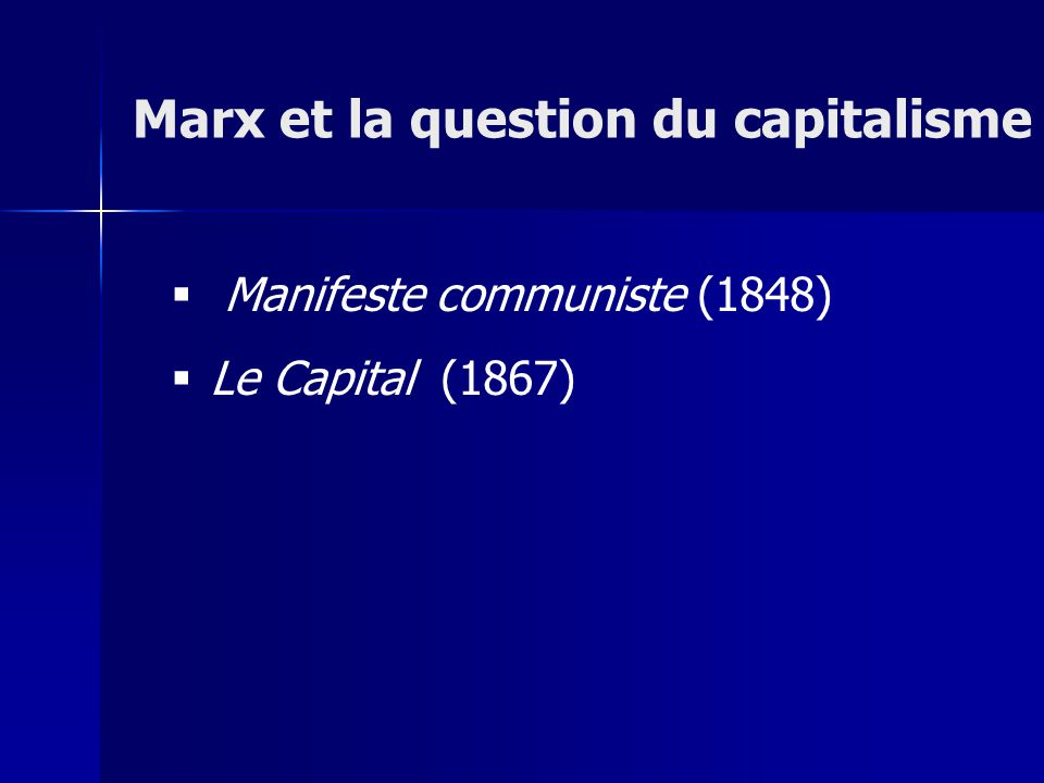 Manifeste communiste (1848) Le Capital (1867) Marx et la question du capitalisme