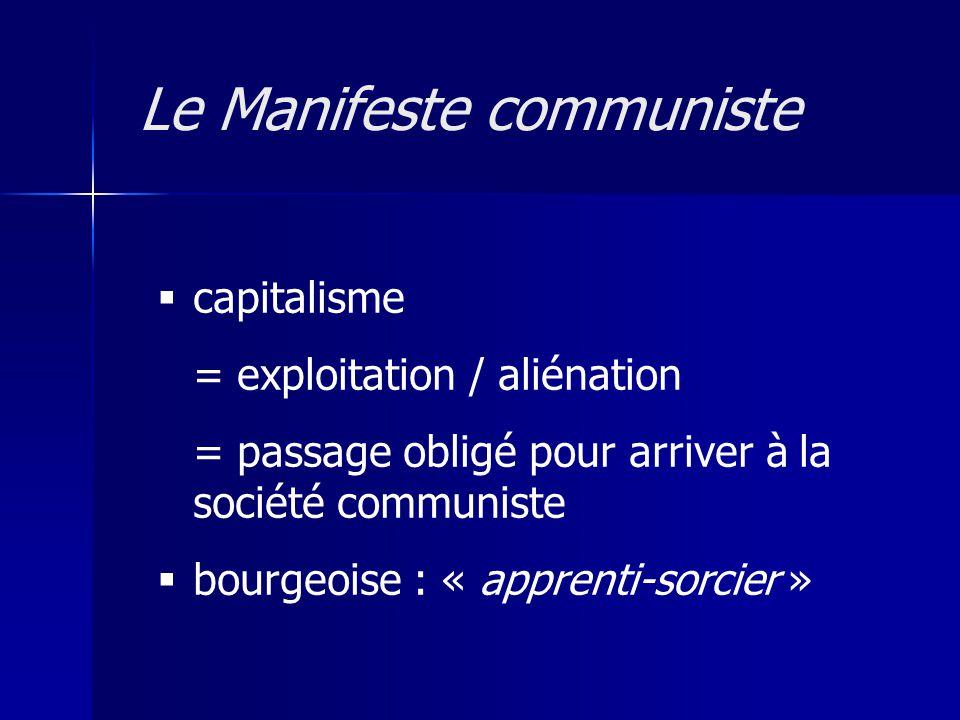 crise : = « trop de richesses, de commerce » = misère du prolétaire = marchandise => révolution : « faire sauter tout lédifice » communisme : « épanouissement de tous » Le Manifeste communiste