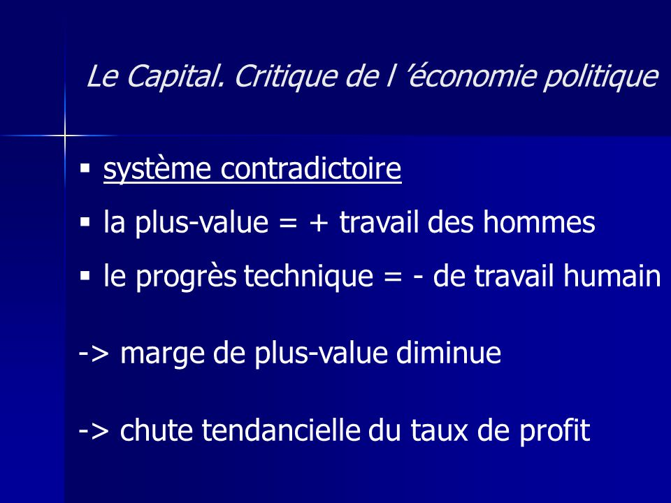 système contradictoire la plus-value = + travail des hommes le progrès technique = - de travail humain -> marge de plus-value diminue -> chute tendancielle du taux de profit Le Capital.