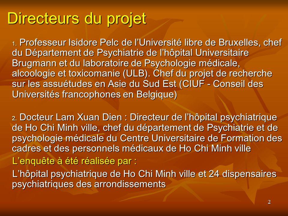 2 Directeurs du projet Professeur Isidore Pelc de lUniversité libre de Bruxelles, chef du Département de Psychiatrie de lhôpital Universitaire Brugmann et du laboratoire de Psychologie médicale, alcoologie et toxicomanie (ULB).