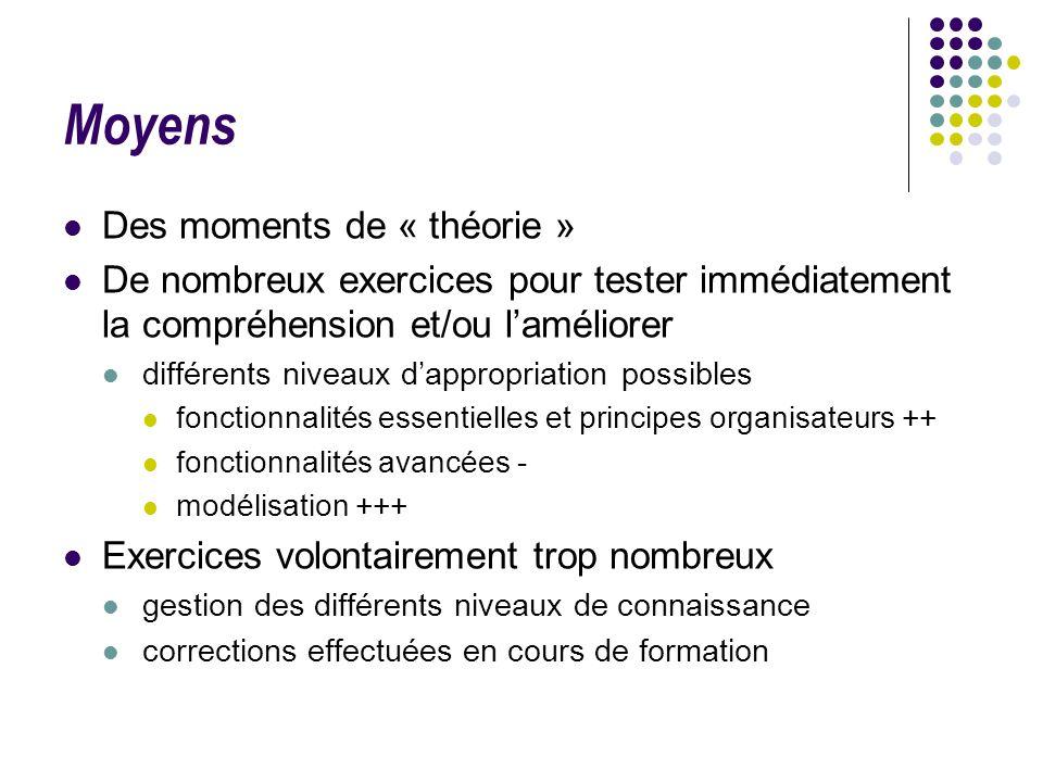 Moyens Des moments de « théorie » De nombreux exercices pour tester immédiatement la compréhension et/ou laméliorer différents niveaux dappropriation