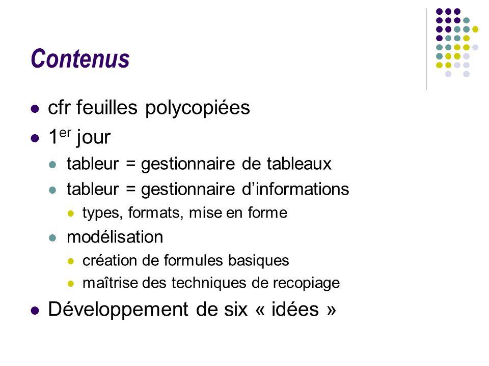 Contenus cfr feuilles polycopiées 1 er jour tableur = gestionnaire de tableaux tableur = gestionnaire dinformations types, formats, mise en forme modé