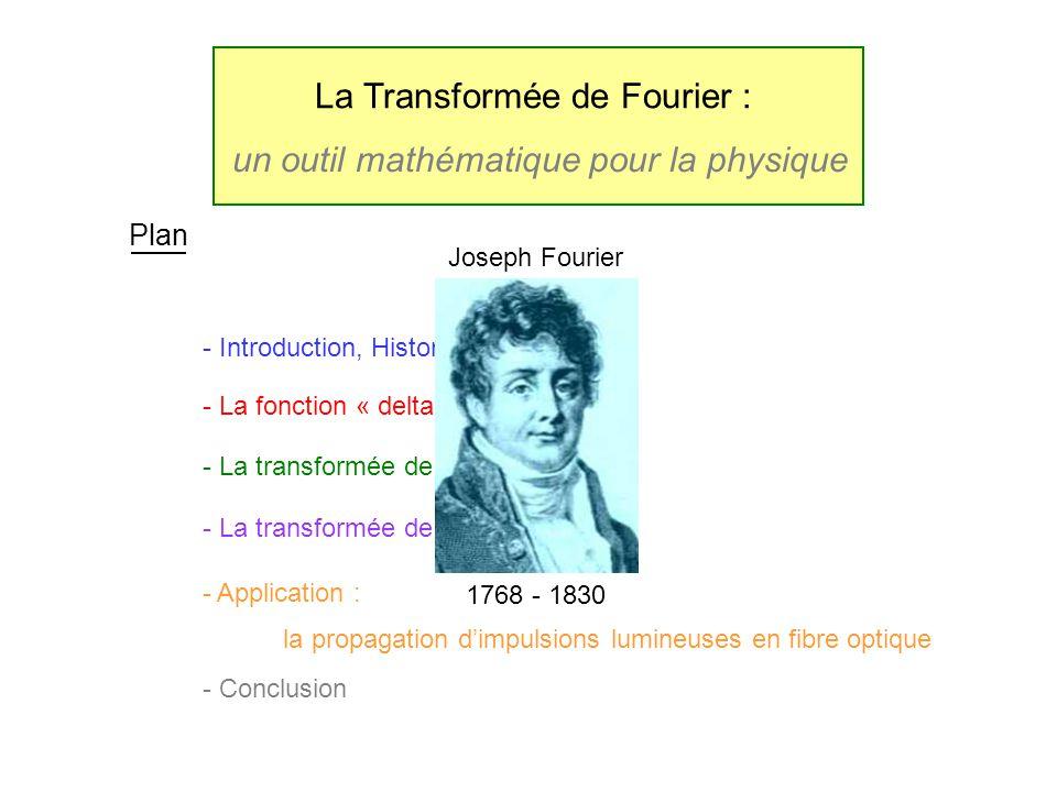 Introduction 1768 - 1830 Joseph Fourier Conduction de la chaleur Loi de la conduction équation de diffusion