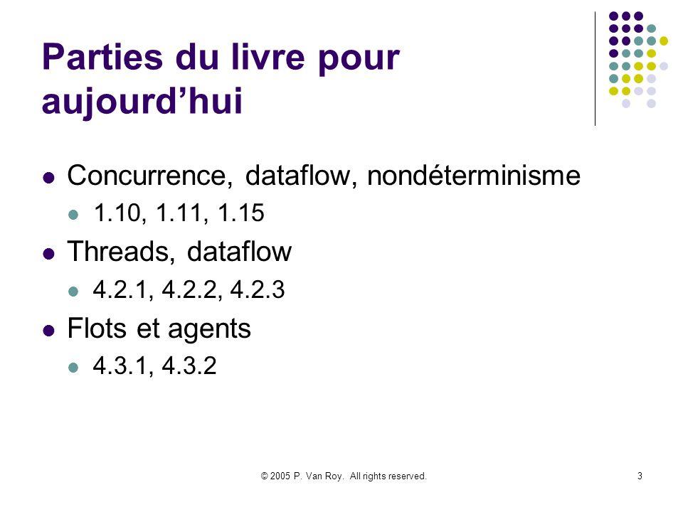 © 2005 P. Van Roy. All rights reserved.3 Parties du livre pour aujourdhui Concurrence, dataflow, nondéterminisme 1.10, 1.11, 1.15 Threads, dataflow 4.