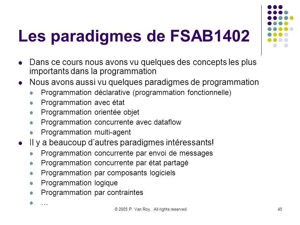 © 2005 P. Van Roy. All rights reserved.45 Les paradigmes de FSAB1402 Dans ce cours nous avons vu quelques des concepts les plus importants dans la pro