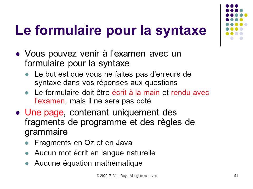 © 2005 P. Van Roy. All rights reserved.51 Le formulaire pour la syntaxe Vous pouvez venir à lexamen avec un formulaire pour la syntaxe Le but est que