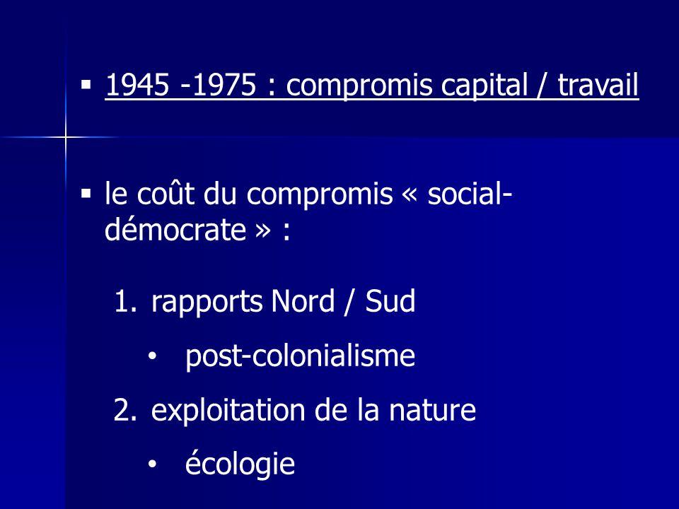 1945 -1975 : compromis capital / travail le coût du compromis « social- démocrate » : 1.rapports Nord / Sud post-colonialisme 2.exploitation de la nature écologie