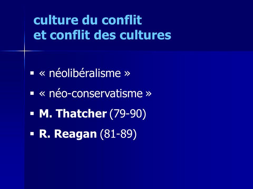 « néolibéralisme » « néo-conservatisme » M.Thatcher (79-90) R.