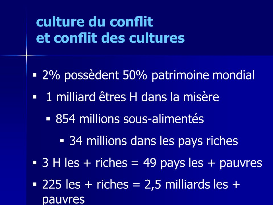 2% possèdent 50% patrimoine mondial 1 milliard êtres H dans la misère 854 millions sous-alimentés 34 millions dans les pays riches 3 H les + riches = 49 pays les + pauvres 225 les + riches = 2,5 milliards les + pauvres culture du conflit et conflit des cultures