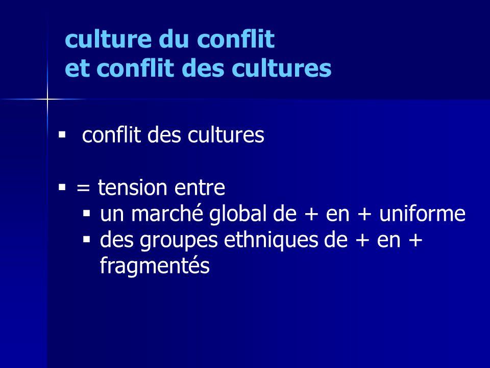 conflit des cultures = tension entre un marché global de + en + uniforme des groupes ethniques de + en + fragmentés culture du conflit et conflit des cultures