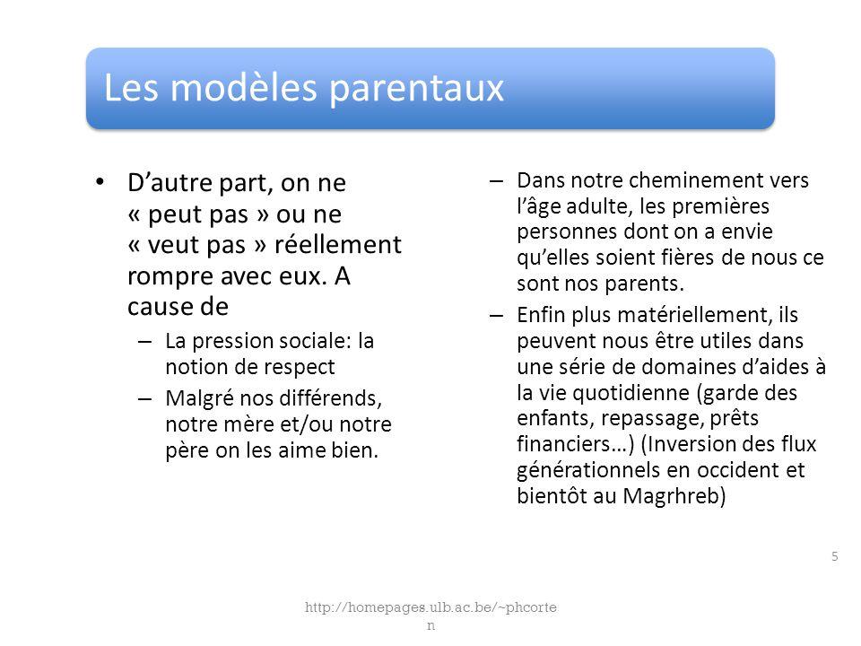 Les modèles parentaux Dautre part, on ne « peut pas » ou ne « veut pas » réellement rompre avec eux.