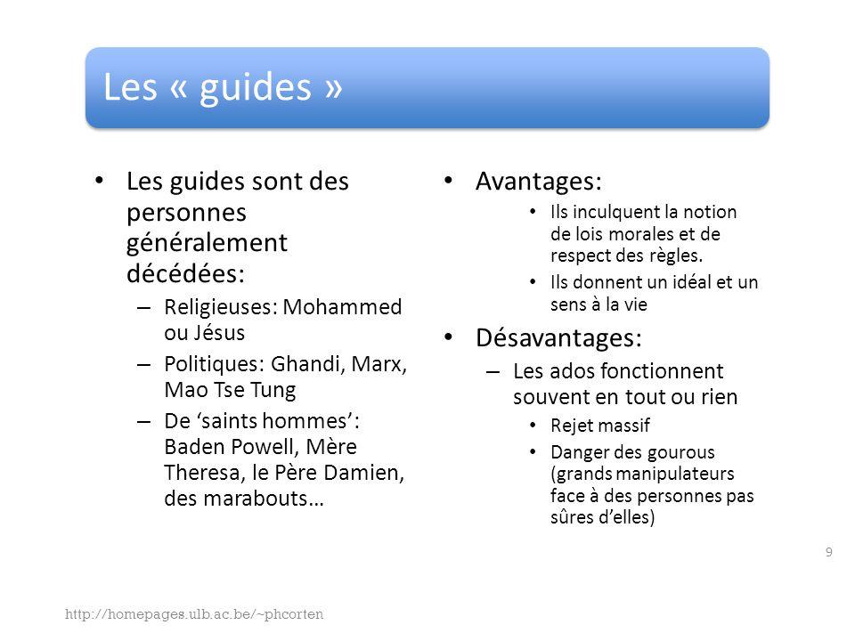 Les « guides » Les guides sont des personnes généralement décédées: – Religieuses: Mohammed ou Jésus – Politiques: Ghandi, Marx, Mao Tse Tung – De saints hommes: Baden Powell, Mère Theresa, le Père Damien, des marabouts… Avantages: Ils inculquent la notion de lois morales et de respect des règles.